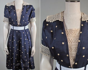 1950s Navy Blue and White Polka Dot Silk Vintage Dress with Lace Trims SZ S-M