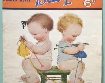 Jaeger Hand-Knit Baby Wear Mabel Lucie Attwell Vintage 1930s Knitting Patterns Book Booklet 30s Babies Clothes Clothing Layette Cardigan etc