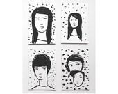 illustrated portraits, set of 4 by Julie Tillman. minimal art. original drawings on paper. watercolor portrait art. dotty polka dots art