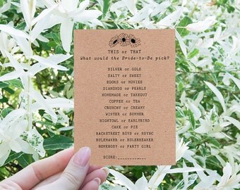 Floral Bridal Shower Games - How Well Do You Know the Bride Game - Boho Bridal Shower Theme - Fun Bridal Shower Game - This or That - Daisy