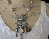 Special - Hinged Steampunk Assemblage Charm Necklace - Unhinged Assemblage Charm Necklace  - Steampunk