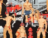 Ready For Action Alexander Henry Fabric Gay Interest Sexy Male Pinups Firemen Fire Fighters NYFD BTY By The Yard