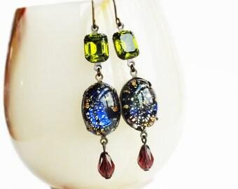 Black Opal Earrings Vintage Rainbow Opal Earrings Foiled Black Glass Dangle Earrings Iridescent Opal Glamorous