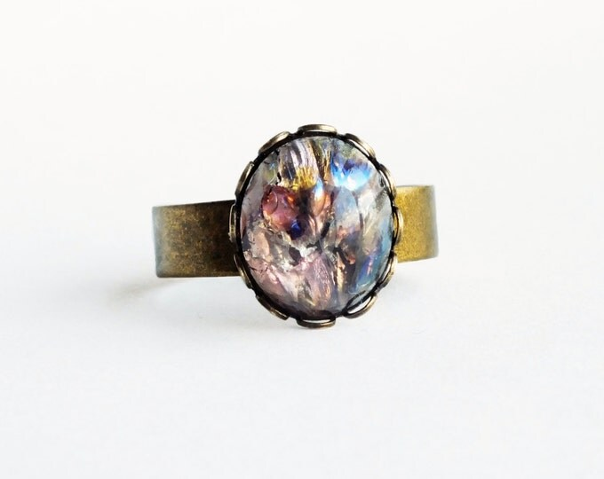 Amethyst Opal Ring Small Vintage Harlequin Fire Opal Adjustable Ring Purple Opal Amethyst Ring Iridescent Glass Opal Jewelry