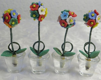 Four Pots of Topiary Flower Trees..Place Holder..Czech Glass