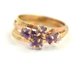Raw Amethyst Ring, Raw Gemstone Ring, February Birthstone Ring