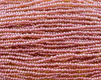 6/0 Transparent Topaz Pink Lined Czech Glass Seed Bead Strand (CW219)
