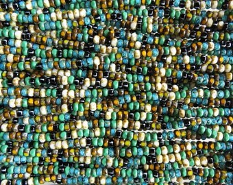 6/0 3 Cut Cinque Terre Picasso Mix Firepolish Czech Glass Seed Beads 20 Inch Strand (DW211)