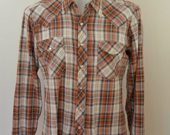 Vintage COUNTY SEAT plaid flannel western shirt Large made in USA 1980's