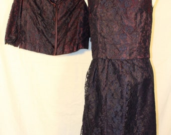 Vintage Women's 3-Piece Outfit, Purple with Lace Overlay, 1960's Era
