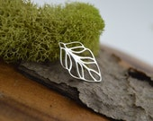 Sterling Silver Small Leaf Pendant 13x23 mm, Sterling Openwork Solid 925 Silver Connector, FPJ8S