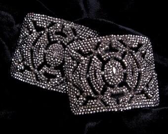Antique CUT STEEL Buckles FRANCE French Shoe Clips Pair Belt Sash Scarf Slide Art Deco Vintage Victorian Wedding Accessories