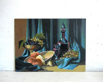 Mid Century Paint By Number Painting | Still Life PBN | Wine Grapes Fruit Paint By Number