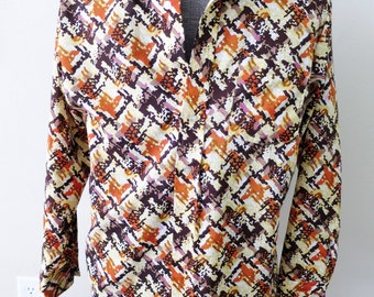 1970s Mens Orange & Brown Abstract Disco Shirt - Groovy Party Wear!