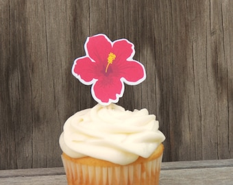 Beach Party Collection - Set of 12 Fuschia Hibiscus Cupcake Toppers by The Birthday House