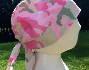 Light Pink and Green Camo Cotton Cloth Biker Skull Cap Do Rag