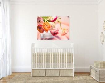 ranunculus photograph, flower bouquet, nostalgic still life, pastels, home decor, lifestyle photo, spring, summer