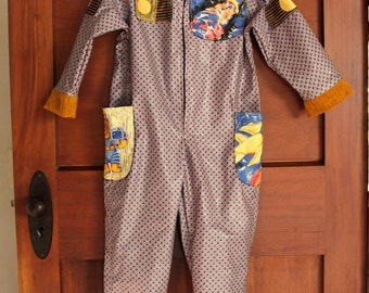 SALE 50% OFF space suit jumpsuit with appliqued pocket