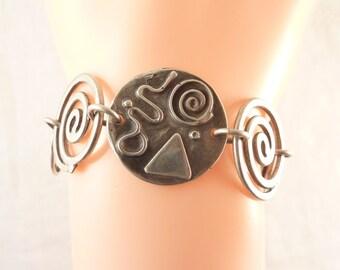 SALE ---- Vintage Sterling Squiggles Spirals and Shapes Link Bracelet