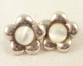 Vintage Sterling and White Cat's Eye Flower Post Earrings