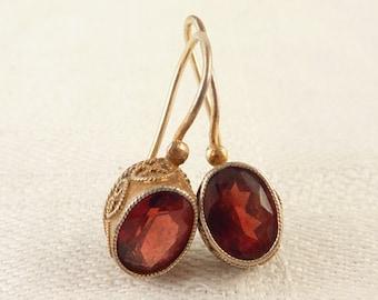 Vintage Goldwash Sterling Oval Garnet Hook Earrings