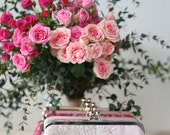 Metallic silver and gold Alencon Lace Bridal Clutch in Blush Pink