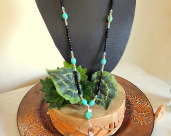 Leather Tassel Necklace, Turquoise and Leather, Sterling Silver, Handcrafted Jewelry, Gemstone Jewelry, Boho Jewelry, Native Style