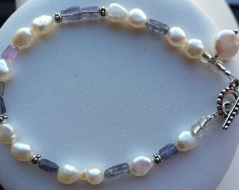 Bracelet — Blue Kyanite and Freshwater Pearls, Coin Shaped Pearl Charm