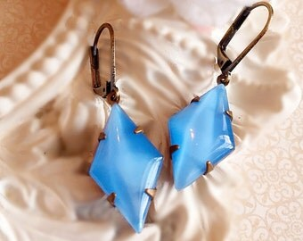 Serenity Blue Earrings - Art Deco Jewelry - Bridesmaid Gifts - Bridesmaid Earrings - Something Blue - Victorian Earrings - HARLEQUIN Blue