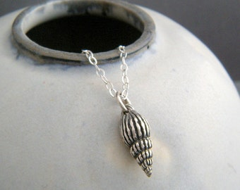 tiny seashell necklace. small sterling silver spiral sea shell pendant 3D simple conical beach jewelry aquatic marine charm. summer gift