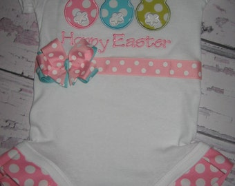 Easter Bunny Trio bodysuit with Ruffles