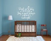 Read Me A Story - Kiss Me Goodnight Wall Decal - Vinyl Wall Sticker Decal Indoor Decor Decoration - White, Black, Blue, Gold, - artstudio54