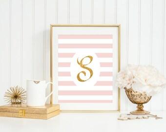 Monogrammed Art, Baby Shower Gifts,Personalized,DIY Printable,YOU Print,Custom Colors,Monogram Girls Nursery Wall Art,Girls Initial Wall Art