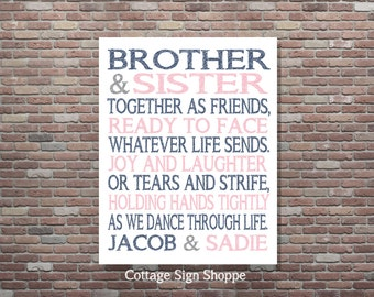 Brother and Sister Together as Friends, Personalized Brother and Sister Art, DOWNLOAD, YOU PRINT, Custom Brother and Sister Art, Sibling Art