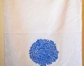 Tree Tea Towel, screen printed 100% cotton tea towel, blue tree