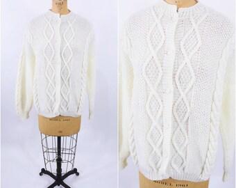 "1980s knit cardigan   cream fisherman oversize slouchy sweater   vintage 80s cardigan   W 38"""