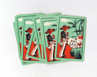 Fun Vintage Mexican Design Mint Green Playing Cards Set of 10