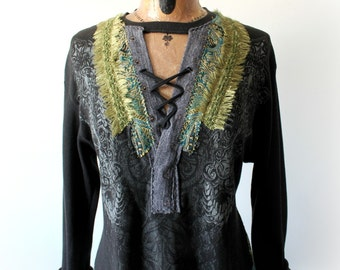 Rocker Chic Black Tunic Hippie Clothing Boho Style Lace Up Wearable Art Shirt Unique Plus Size Upcycled Clothes Long Sleeves XL 1X 'CASSIE'