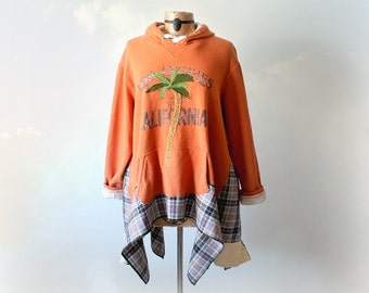 Plus Size Hoodie Upcycle Clothing California Palm Tree Cozy Big Shirt Women Sweatshirt Orange Jacket Wearable Art Boho Clothes 2X 3X KENDALL