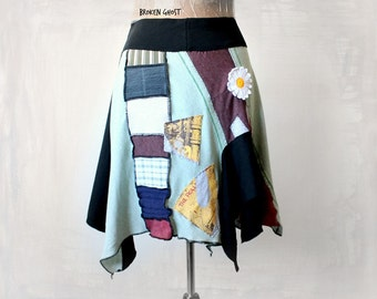 Hippie Chic Skirt Burning Man Clothing Stretch Boho Skirt Deconstructed Patchwork Skirt Women Pixie Fairy Clothes Tatter Uneven M L 'TESSA