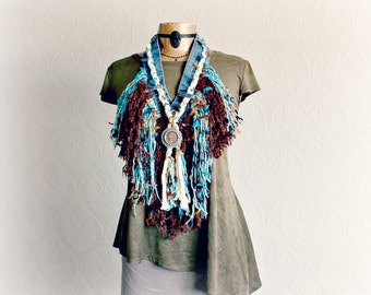 Fringe Scarf Boho Chic Necklace Shaggy Tattered Turquoise Brown Stevie Nicks Rustic Scarf Bohemian Gypsy Hippie Clothing Festival Wear ETTA