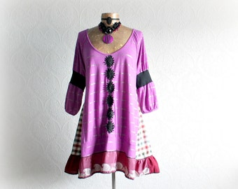 Purple Boho Shirt Upcycled Long Top Hippie A-Line Tunic Eco Chic Bohemian Fashion Plus Size Recycled Clothing Funky Clothes 1X 2X 'ARIANNA'