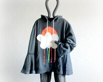 Loose Fitting Women's Hoodie Gray Oversize Top Funky Applique Cloud Sun Rain Casual Clothing Upcycled Recycled Hooded Jacket XL 1X 'WINDY'