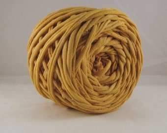 T Shirt Yarn Hand Dyed - Antique Gold - Mustart Yellow- Gold - Tshirt yarn - 60 yards -Yellow Yarn - Cotton Yarn - Jersey Yarn - Chunky Yarn