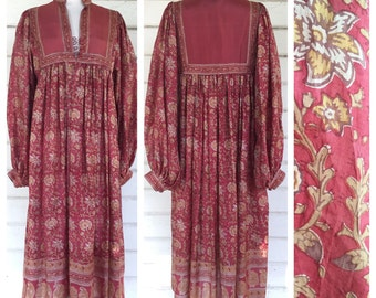 VINTAGE 70s INDIA silk Phool maxi dress poet sleeve bohemian Adini