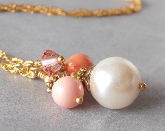 Coral Pearl Necklaces for Bridesmaids, Bead Cluster Necklace, Coral Wedding Jewelry Sets, Bridesmaid Necklaces, Swarovski Elements, Gold