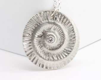 Silver Ammonite Necklace, Sterling Silver Fossil Necklace, White Topaz Necklace, Matt Silver, Eco Friendly, Gift for her, Fossil Jewelry