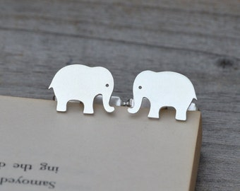 Elephant Cufflinks In Solid Sterling Silver, With Personalized Message On The Backs, Handmade In The UK