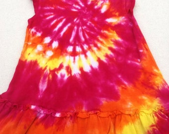 Tie Dyed Fuchsia, Orange and Yellow Spiral Tie Dyed Infant/ Baby Ruffle  Sun Dress In Stock and READY TO SHIP