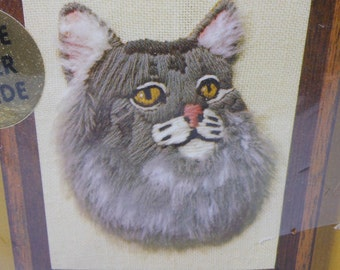 1970's Vintage JIFFY Stitchery Kit MISTY Grey Cat 100% Wool Yarn Craft Supplies Needlecraft Sewing Art 4 x 5 Homespun PeachyChicBoutique